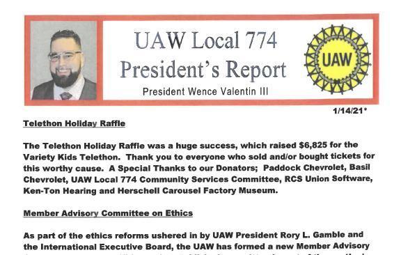 Jan 14, 2021 - President's Report